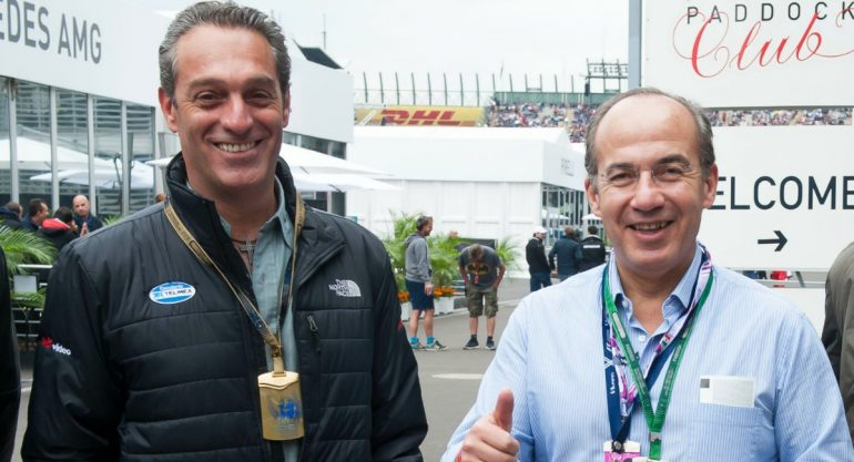 Carlos Slim Domit y Felipe Calderón en las prácticas libres de la F1