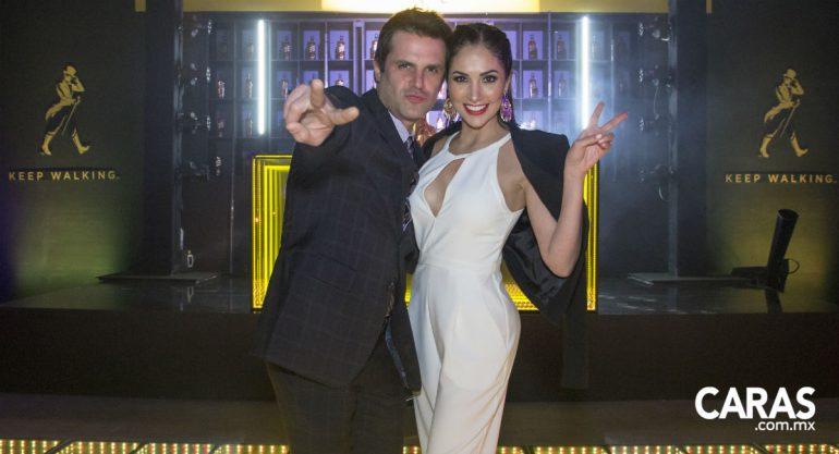 Mark Tacher y Cynthia Alesco en la fiesta de la Fórmula 1
