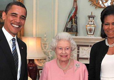 Michelle Obama, Reina Isabel II y Barack Obama