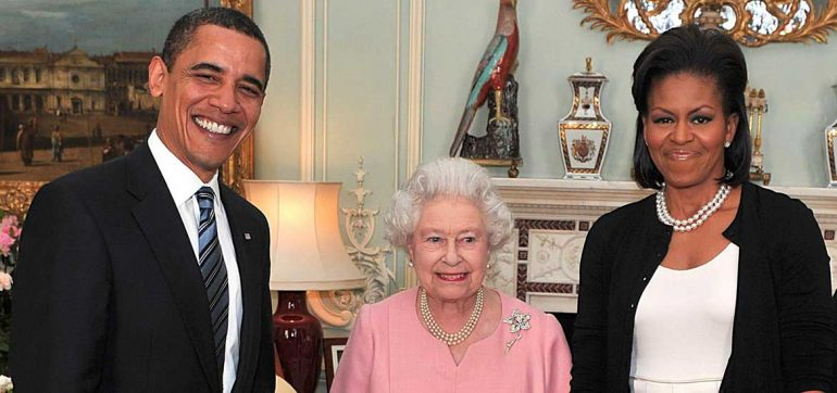Michelle Obama, Reina Isabel II y Barack Obama