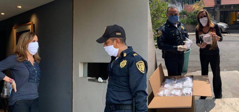 Observatorio de Seguridad Ciudadana dona cubrebocas a policías y bomberos