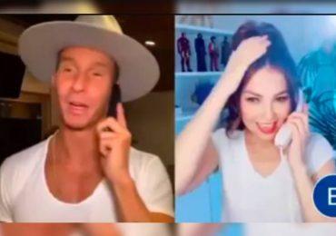 Thalía y Erik Rubin recrean llamada romántica