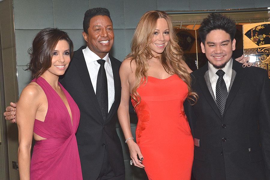 El príncipe Azim con Eva Longoria, Jermaine Jackson y Mariah Carey
