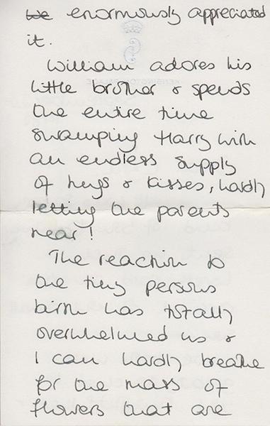Relación William Harry carta